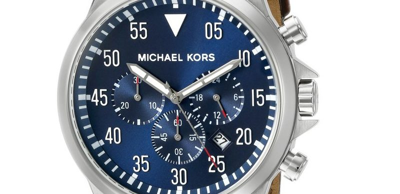 eefb16dedc22 Michael Kors Men s Gage Stainless Steel Watch With Brown Leather ...