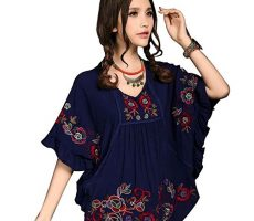 Kafeimali-Womens-Tops-Embroidered-Loose-Peasant-Butterfly