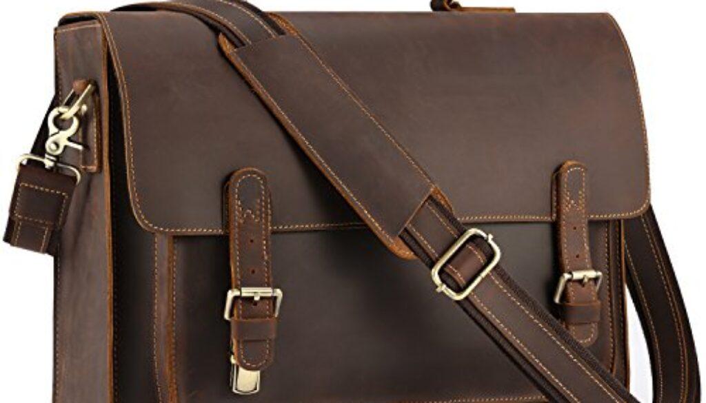 Kattee Mens Leather Satchel Briefcase